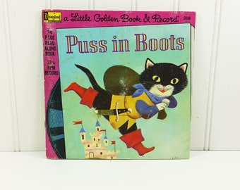Puss in Boots Read Along Book and Record, Little Golden Book 33-1/3 RPM LP Disneyland Records