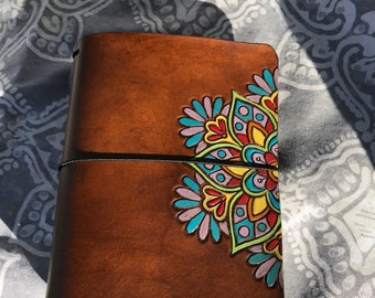 B6 leather travelers notebook with handtooled mandala handpainted