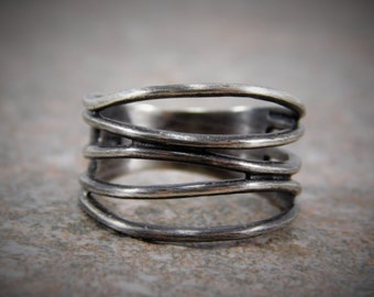 Oxidized Sterling Silver Open Cut Out Design Band Ring