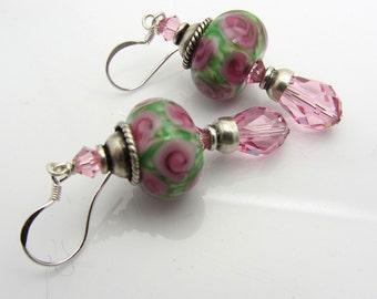 Lampwork Earrings Green With Pink Rose Flower Earrings Glass Bead Earrings Dangle Drop Earrings SRAJD USA Handmade