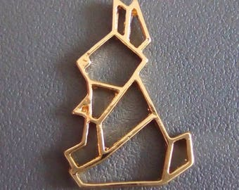 Origami 24x15mm gold rabbit charm