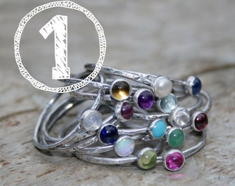 ONE Birthstone Stacking Ring. Mom Jewelry, Mommy Rings, Stackers, Stackies, Gemstones and Sterling Silver. Made To Order Custom Mommy Rings.