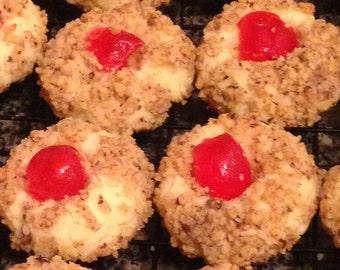 Cherry Nut Thumbprint Cookies