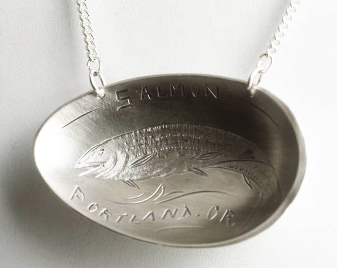 Salmon Fishing Necklace, Fish Pendant, Sterling Silver Spoon Necklace, Portland Oregon, River Jewerly, Fish Jewelry, Fishing Lover Gift 6824