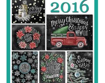 Holiday Card Set, Christmas Card Set, Christmas Card, Chalkboard Card, Holiday Card, Chalk Art, Typography, Hand Lettered