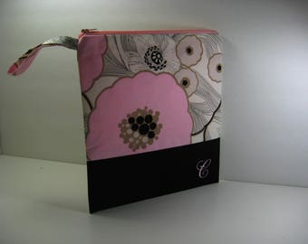 Personalized Large Zipper Pouch, Cosmetic Bag, Travel Bag, Project Bag, Crafter's Bag, Gift Bag, Personalized, Makeup Bag, Pink Floral