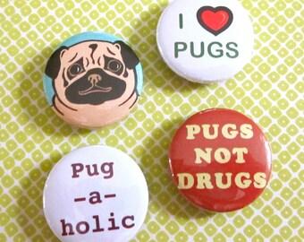 Pug-A-Holic Magnets (Set of 4)