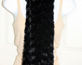 Minky Rosebud Swirl Scarf - Ebony Black Color