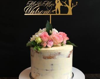 Tree Cake Topper,Custom Couple Name Cake Topper Wedding,Love Birds Cake Toppers, Cake Topper for Wedding, Anniversary, Birthday