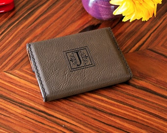 Leather Business Card Holder - Personalized Custom Engraved Leather style Business Card Holder Up to 2 Lines of Text or your corporate logo