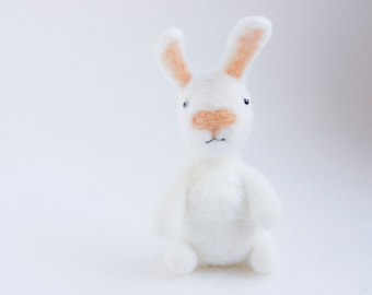Made to order - White needle felted pocket bunny