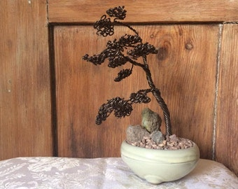 Windswept-effect Wire Bonsai Tree Sculpture with Genuine Cotswold Stone
