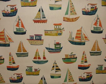 BOAT CLUB Antique Coastal Nautical Seaside Theme Cotton Curtain Upholstery Fabric