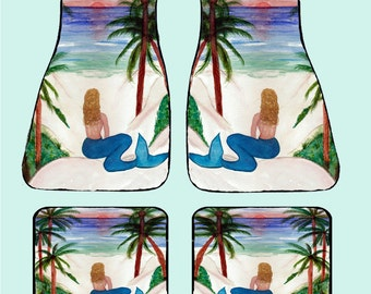 Blond Mermaid Art Car Mats front and rear from my original design