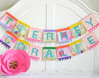 Name Garland, Personalized Garland, Felt Name Banner, Name Bunting, Baby Name Banner, Custom Name Garland, Tutti Frutti Party, Rainbow