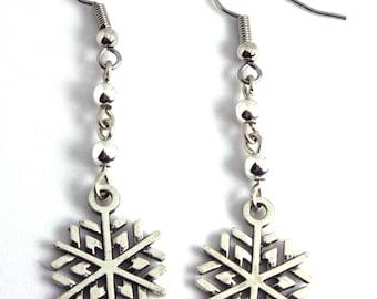 Silver Snowflake Earrings, Dangle Earrings, Drop Earrings, Christmas Earrings, Charm Earrings, Holiday Earrings, Holiday Jewelry, Snowflake