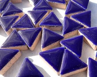 Very Dark Blue Mini Triangles Mosaic Tiles - 50g Ceramic - 15mm in Indigo