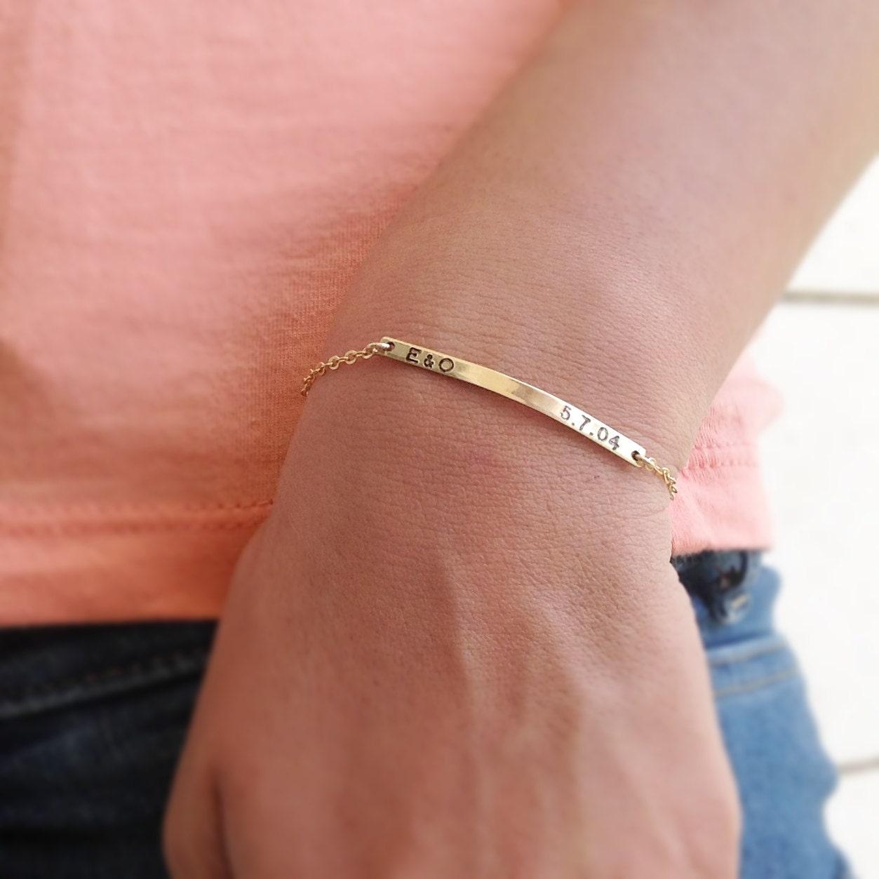 Gold bar braceletName plate braceletPersonalized