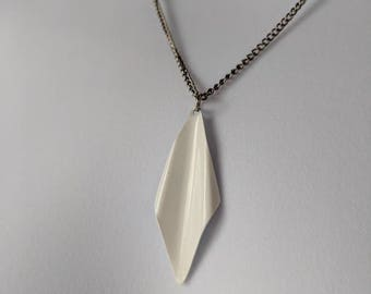 White Diamond Shaped Necklace on a silver curb chain