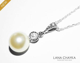Pearl CZ Bridal Necklace Sterling Silver Pearl Drop Wedding Necklace Swarovski 10mm Single Pearl Necklace Bridal Jewelry Wedding Jewelry
