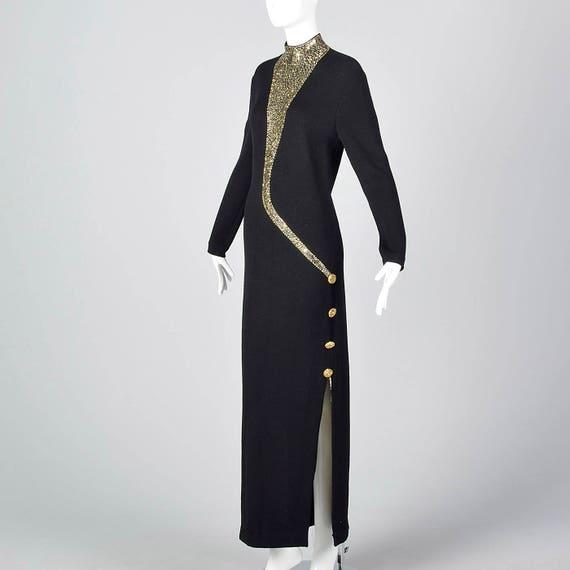 Black Dress Simple Dress John Long Evening Sweater Knit Maxi Pencil Dress St Sleeve Evening Formal 1980s Winter Winter Z4XvqxwX6