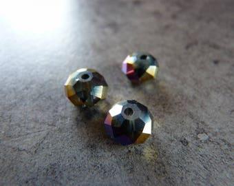 Pearls flattened round 8mm X 3 Peacock swarovski crystal