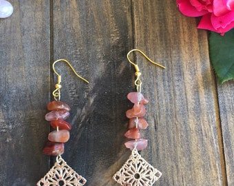 Unique earrings, red agate chip stones, dangle earrings, drop earrings, stone chip earrings