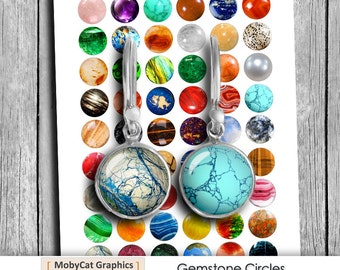 """Printable images """"Gemstones"""" 10mm 12mm 14mm 16mm 20mm  for Jewelry Making Digital Collage Sheet Instant Download"""