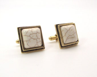Coco and Cream Magnesite Cufflinks No. 1 - Creamy White Cufflinks