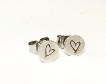 Sterling Stamped Heart Stud Earrings
