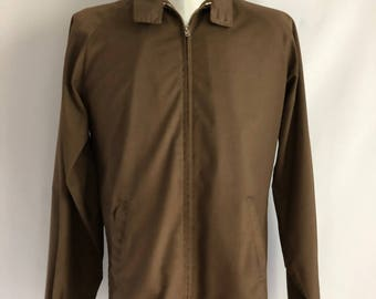 Vintage Men's 60's Harrington Jacket, Brown, Zip Up, Long Sleeve, Tall (L)