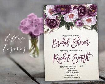 Purple Bridal Shower Invitation Purple Flowers Bridal Shower Invite Purple Flowers White Invitation Digital Download Printable Invites
