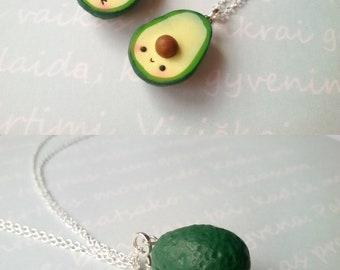 Best Friend Kawaii Avocado Necklace vegan jewelry avocado jewelry miniature food jewelry best friend kawaii charms friendship necklace