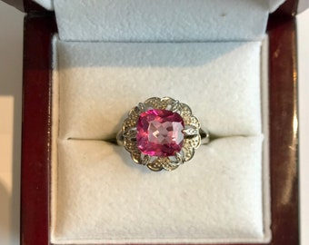 Beautiful Natural Pink Tourmaline and Diamond Ring