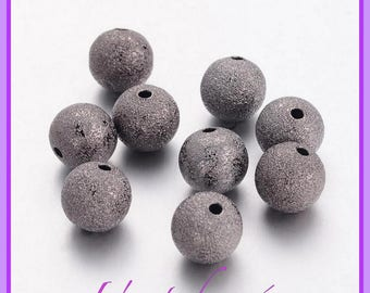 10 STARDUST grey, Gunmetal, black silver, 10 mm beads