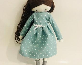 Handmade doll Martha  cloth art rag doll polka dots dress and socks made to order