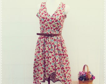 Sweet Disposition Floral High Low Dress - Floral Print Dress, OOAK Floral Dress in Size Medium