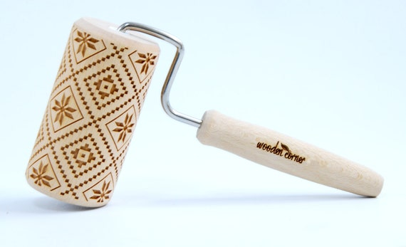 Polish folk pattern - Podlachia (Podlasie) is a historical region in the eastern of Poland. MIDI Embossing Rolling pin, engraved rolling pin