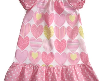 Toddler Peasant Dress, Heart Dress, Toddler Heart Dress, Girl Peasant Dress, Little Girl Dress, Girls Dress, Gift for Girls, Girl Clothing