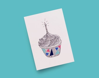 Birthday Postcards: Cupcake with Bright Colour Vinyl Stickers and Hand-drawn Silver Ink — Line Illustration | A6 (4x6)