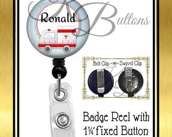 EMT Badge Reel, Ambulance Badge Reel, Custom Badge Reel, Retractable Badge Reel, Custom Medical Badge Reel, BRM010