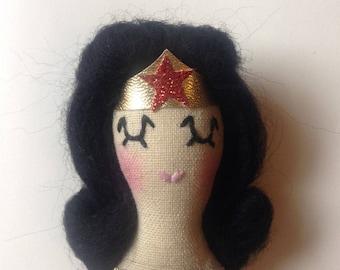 Wonder Woman Brooch. Textile Brooch. Icon Brooch.