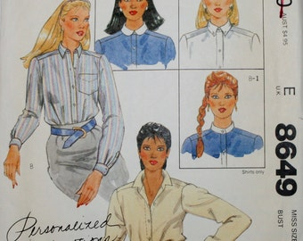 McCall's 8649 Misses'  Vintage Shirt Sewing Pattern New / Uncut Size 12
