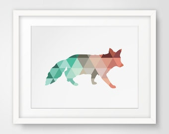 Fox Print, Fox Wall Art, Mint and Coral Fox, Fox Wall Prints, Mint Fox Art, Printable Art, Coral and Fox Print Art, Digital Fox Prints