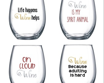 Set of 4 Stemless Wine Glasses with funny/cute sayings