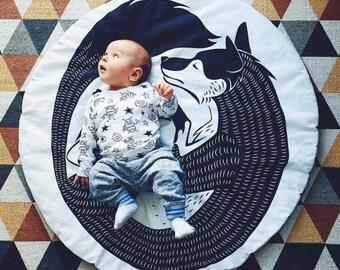 Play Mat Baby, Playmat - Scandi Fox || Handmade Playmat for Kids Babies Nursery Rug Scandinavian Style, baby play mat, playmats, play mat