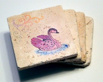 Colorful Swan Coasters (set of 4)