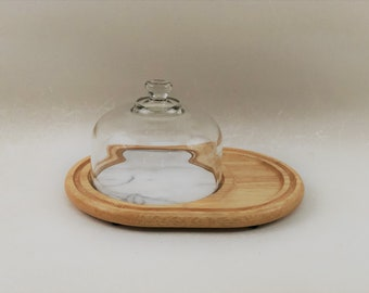 Beautiful Vintage Wood Cheese Serving Tray With Marble Inset and Glass Dome