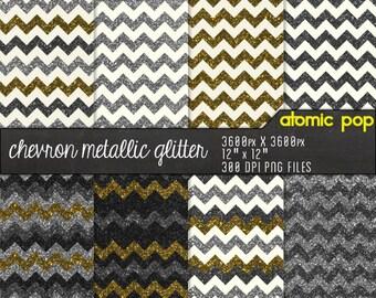 Gold & Silver Chevron Glitter Digital Paper Pack// Instant Download // Digital Scrapboking Royalty Free