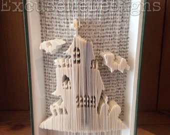Halloween Book Fold Art Pattern - Haunted House with Bats!  Cut and Fold 575 pgs 20 cm